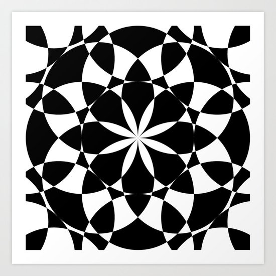 Black and white flower mandala mosaic by pldesign