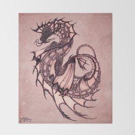 """Tsunami"" by Amber Marine ~ Sea Dragon (Coral Version) ~ Graphite Illustration, (Copyright 2005) Throw Blanket"