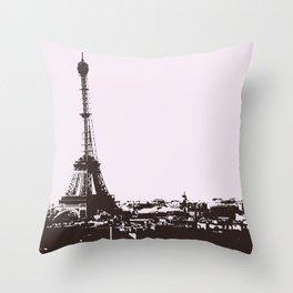 Paris (Black and White) Throw Pillow