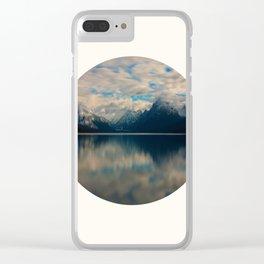 Mid Century Modern Round Circle Photo Reflective Blue Mountain Range Clear iPhone Case