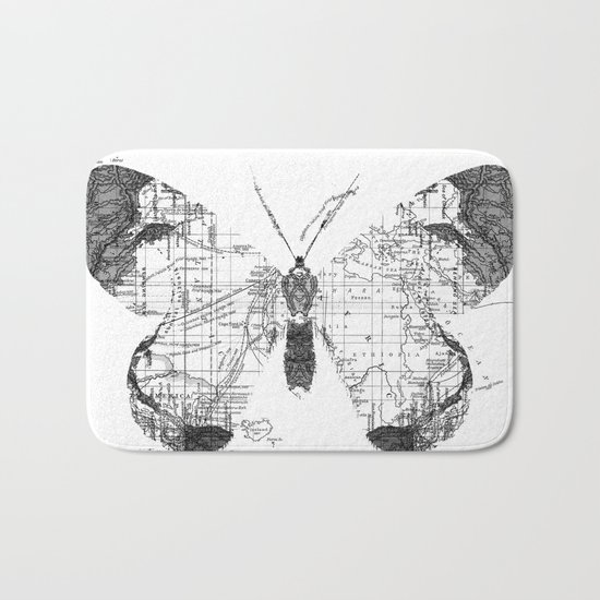 Butterfly Wanderlust Black and White Bath Mat