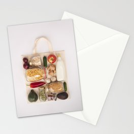 Eco bag with fruits and vegetables, glass jars with beans, lentils, pasta Stationery Cards