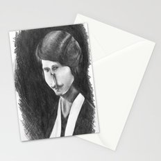 Victoriana Mustached Woman  Stationery Cards