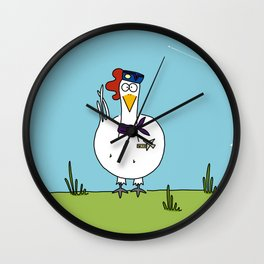 Eglantine la poule (the hen) dressed up as an air hostess Wall Clock