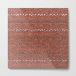 Texture Brown Grey White Aztec Inspired Stripes Metal Print