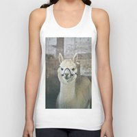 alpaca Tank Tops featuring White Alpaca  by Laura Ruth