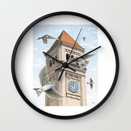 Clock Tower with Swallows Wall Clock