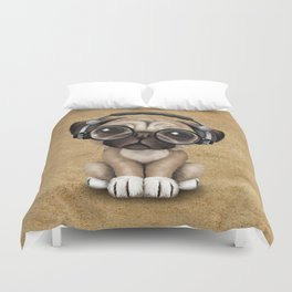 Cute Pug Puppy Dj Wearing Headphones and Glasses Duvet Cover