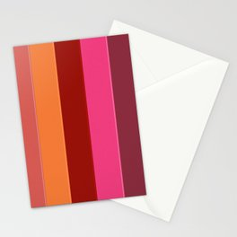 Modern girly pink fashion color block stripes Stationery Cards
