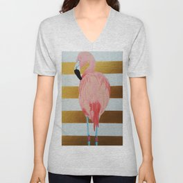 Striped Flamingo Unisex V-Neck