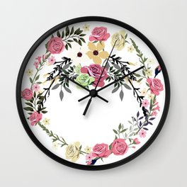 Bouquet of Vintage Rose - wreath Wall Clock