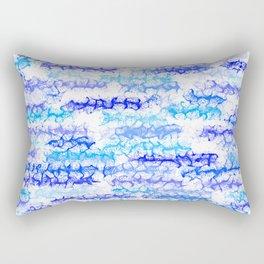 Cobalt Blue & Aqua Lines - White Rectangular Pillow