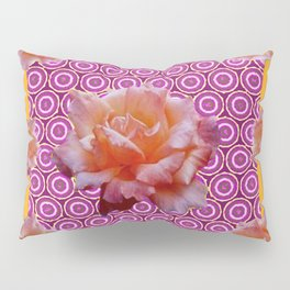GREY ABSTRACT ANTIQUE ROSES FUCHSIA FLORAL Pillow Sham