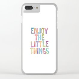 Enjoy the Little Things Watercolor Rainbow Design Inspirational Quote bedroom Wall Art Home Decor Clear iPhone Case