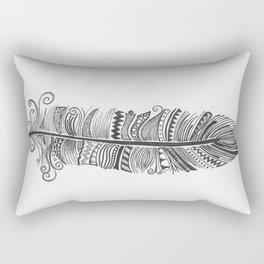 Black and White Feather Zen Rectangular Pillow