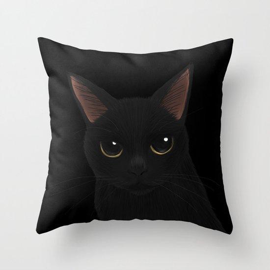 Black cat in black Throw Pillow by BATKEI Society6