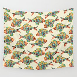 Abstract Geometric Fish Pattern Wall Tapestry