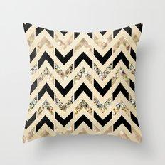 Black & Gold Glitter Herringbone Chevron on Nude Cream Throw Pillow