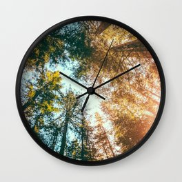 California Redwoods Sun-rays and Sky Wall Clock