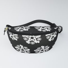 Bone Pentagram & White Roses Fanny Pack