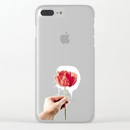 Red Background 04 Clear iPhone Case