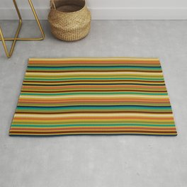 Joseph Stripes - Mid Century Modern Pattern in Mid Mod Teal, Navy, Orange, Maroon, Beige, Olive, and Mustard Rug