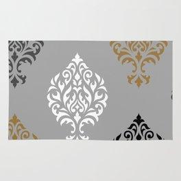 Orna Damask Art I BW Grays Gold Rug
