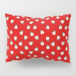 Red background with repeating santa clause head - christmas concept Pillow Sham