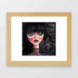 Batgirl Victorian Goth Girl with Grey Bat Big Green Eyes Framed Art Print