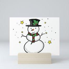 Snowman and the stars Mini Art Print