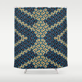 Squiggle Trails Most Awesome Yellow Red Blue and Black Shower Curtain