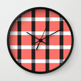 Pretty in Plaid Gingham Living Coral Color of 2019 Wall Clock