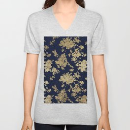 Elegant vintage navy blue faux gold flowers Unisex V-Neck