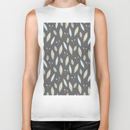 Pastel gray blush blue pink yellow chevron floral leaves Biker Tank