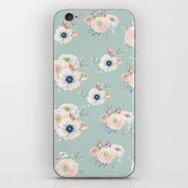Dog Rose Pattern Mint iPhone Skin