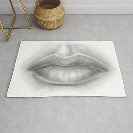 Pouty Sexy Lips Pencil Art | Graphite Drawing | Sexuality | Face Rug