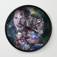 star lord Wall Clocks featuring Star Lord - Galaxy Guardian by Nina Palumbo Illustration