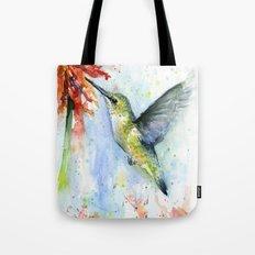 Hummingbird Red Flower Watercolor Bird Tote Bag