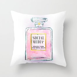 Eau de Social Media Seriously Harm Your Mental Health Throw Pillow