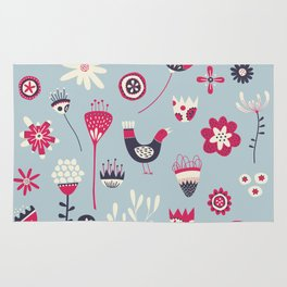 Scandi Birds and Flowers Blue Rug