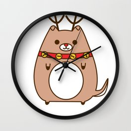 Cute Christmas Reindeer Pupsheen Wall Clock