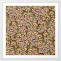 too many faces in a crowd Art Print