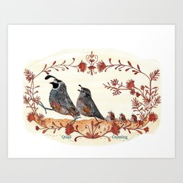 Quails Crossing Art Print