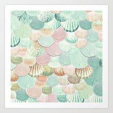 MERMAID SHELLS - MINT & ROSEGOLD Art Print