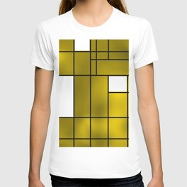 Geometic compstion over yellow backlight T-shirt
