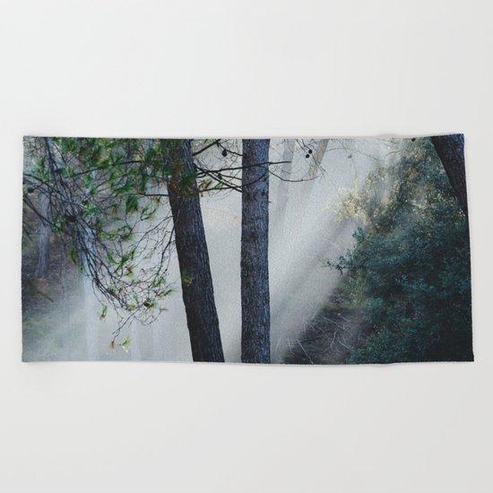 """""""Sunrays through the foggy forest"""". Retro dreams.... Beach Towel"""