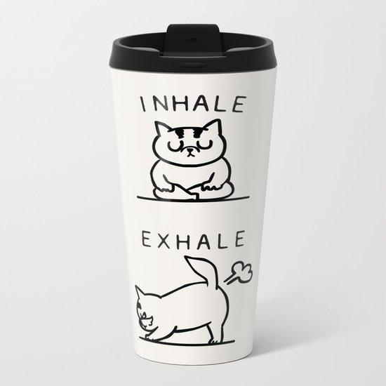 Inhale Exhale Cat Metal Travel Mug