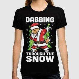 Shetland Sheepdog Dabbing Through The Snow Christmas T-shirt