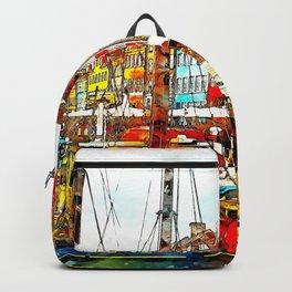 Boats ship art abstract watercolor Backpack