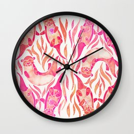 Five Otters – Pink Ombré Wall Clock